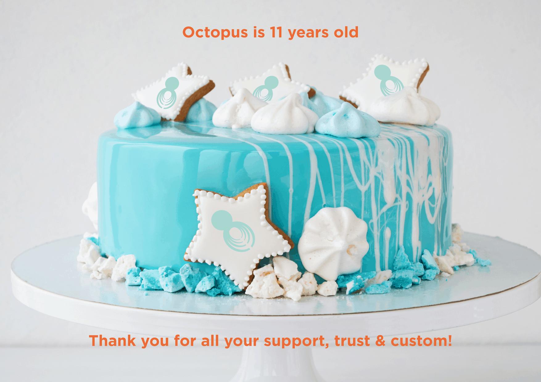 Cool Octopus Intelligence Celebrating Its 11Th Birthday Funny Birthday Cards Online Elaedamsfinfo